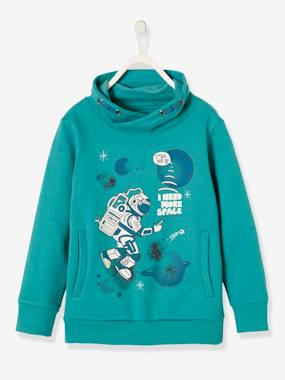 Vertbaudet Sale-Boys-Cardigans, Jumpers & Sweatshirts-Sweatshirt for Boys, with Astronaut and Glow-in-the-Dark Motif