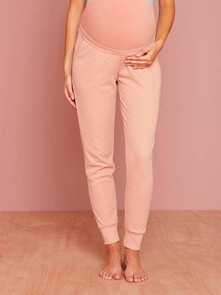 Maternity Loungewear Ribbed Trousers PINK MEDIUM MIXED COLOR - vertbaudet enfant