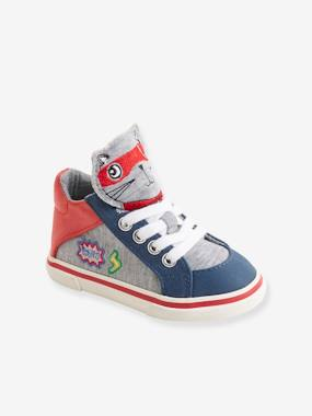 Shoes-Baby Footwear-High Top Trainers with Laces for Boys