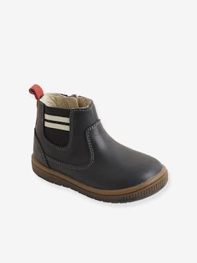 Outlet-Shoes-Elastic Leather Boots for Boys
