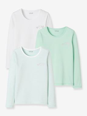 Girls-Underwear-T-Shirts-Pack of 3 Long-Sleeved Stretch Tops for Girls