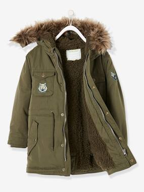 Boys-Coats & Jackets-Plush-Lined Parka for Boys