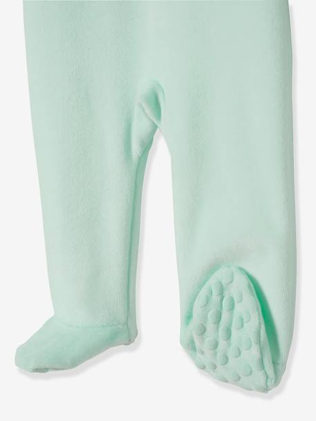 Velour Pyjamas for Babies, with Press-Studs on the Back GREEN LIGHT SOLID WITH DESIGN - vertbaudet enfant