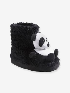 Shoes-Girls Footwear-Slippers-High Top Shoes with Plush Pandas for Girls