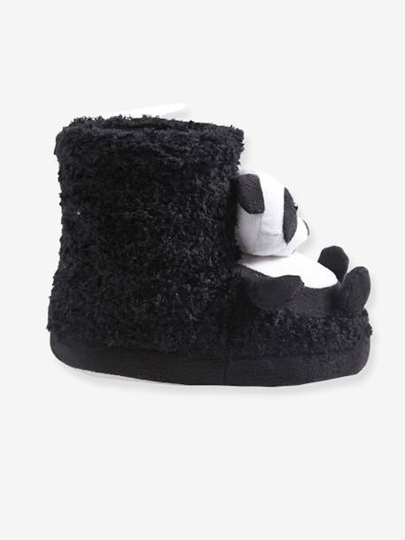 High Top Shoes with Plush Pandas for Girls BLACK DARK SOLID - vertbaudet enfant