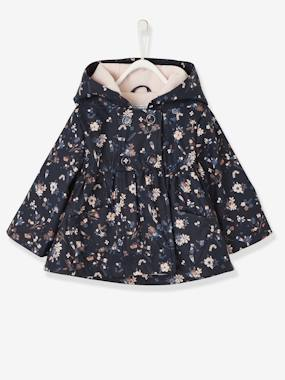 Baby-Outerwear-Coats-Flower Print Raincoat for Baby Girls
