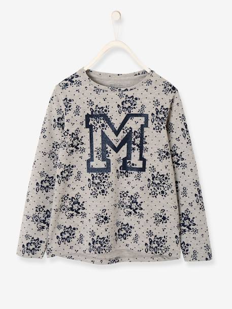 Flowery Long-Sleeved Top for Girls GREY LIGHT ALL OVER PRINTED - vertbaudet enfant