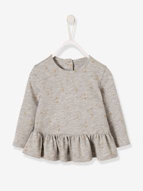 Vertbaudet Sale-Baby-T-shirts & Roll Neck T-Shirts-Printed Top with Frilled Hem for Baby Girls