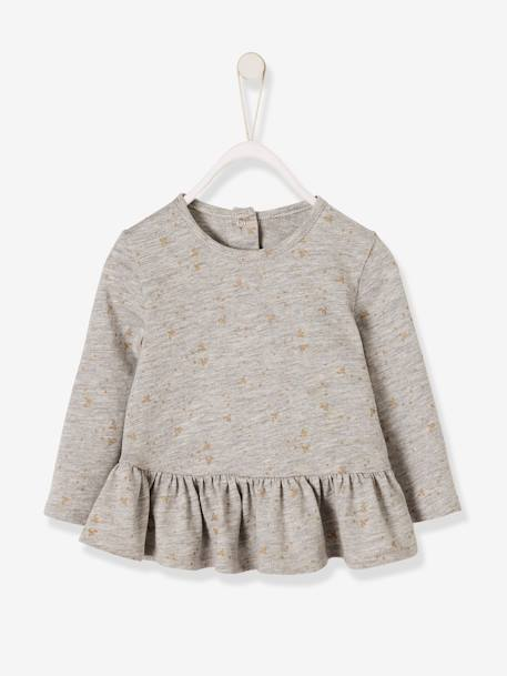 92980e566f2 Printed Top with Frilled Hem for Baby Girls - grey light mixed color …