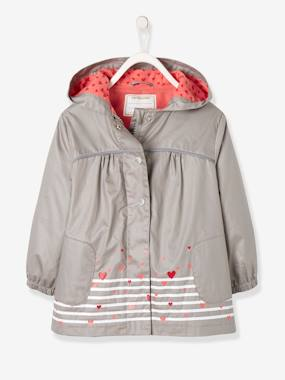 T-shirts-Girls' Parka with Polar Fleece Lining