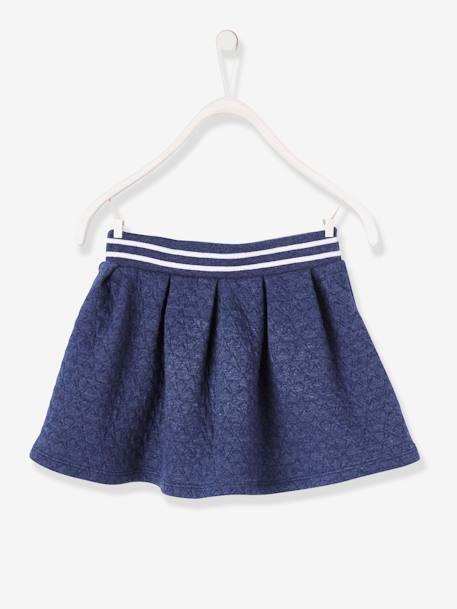 Girls' Top stitched Fleece Skirt BLUE DARK SOLID WITH DESIGN+GREEN DARK SOLID+GREY MEDIUM MIXED COLOR - vertbaudet enfant