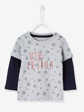Vertbaudet Sale-Baby-T-shirts & Roll Neck T-Shirts-Layered-Look T-Shirt for Baby Boys