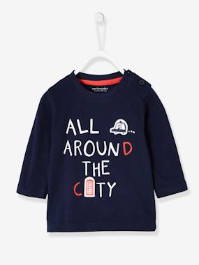 Vertbaudet Sale-Baby-T-shirts & Roll Neck T-Shirts-Top with London Print for Baby Boys