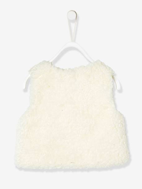 Baby Girls Faux Fur Gilet WHITE LIGHT SOLID - vertbaudet enfant