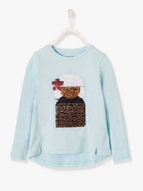 Vertbaudet Sale-Long-Sleeved T-Shirt with Reversible Sequins for Girls