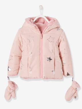 Vertbaudet Sale-Girls-Coats & Jackets-Reversible Coat with Silvery Star Print & Gloves, for Girls