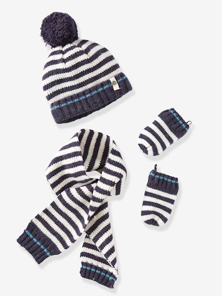 Newborn Baby Hat, Scarf & Mittens Set WHITE LIGHT STRIPED - vertbaudet enfant