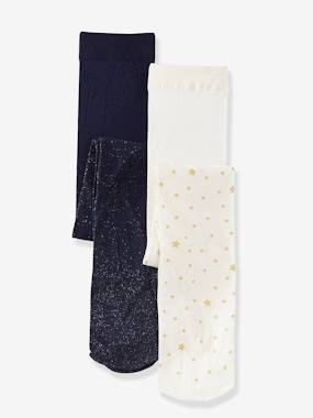 Vertbaudet Sale-Girls-Pack of 2 Stylish Tights, Sparkling Details for Girls