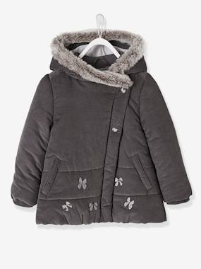 Outlet-Manteau fille en velours doublé polaire