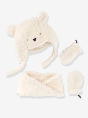 Baby-Baby Girls Chapka, Snood & Mittens Set