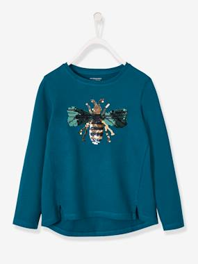 Vertbaudet Collection-Girls-Long-Sleeved T-Shirt with Reversible Sequins for Girls