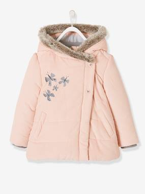 Outlet-Fleece-Lined Velour Coat for Girls