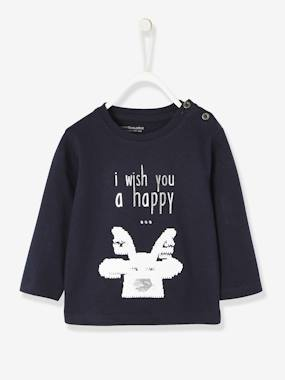 Vertbaudet Sale-Baby-T-shirts & Roll Neck T-Shirts-Long-Sleeved Christmas Top for Boys, with Reindeer and Reversible Sequins