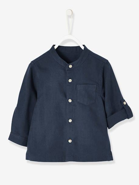 Mandarin Collar Shirt for Baby Boys BLUE DARK SOLID+WHITE LIGHT SOLID - vertbaudet enfant