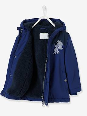 Boys-Coats & Jackets-Coated Parka in Twill, plush knit lining, for Boys