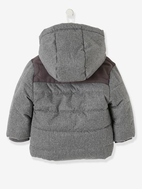 Padded Jacket with Hood for Baby Boys GREY MEDIUM MIXED COLOR - vertbaudet enfant