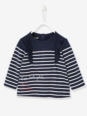 Vertbaudet Sale-Baby-T-shirts & Roll Neck T-Shirts-Striped Top for Baby Girls, I am toute petite