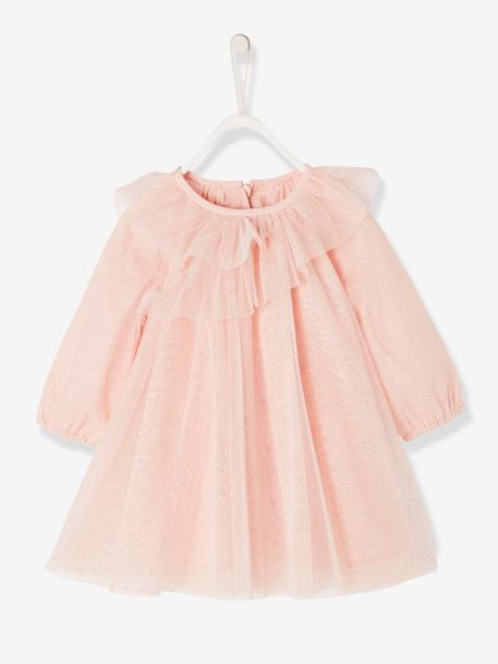 Tulle Party Dress with Glitter BLUE DARK SOLID WITH DESIGN+PINK LIGHT SOLID WITH DESIGN - vertbaudet enfant
