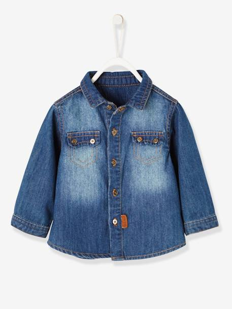 Faded Denim Shirt for Baby Boys BLUE DARK WASCHED - vertbaudet enfant