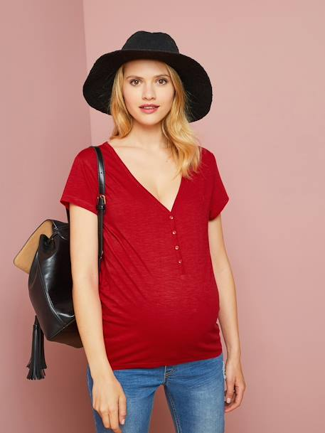 Grandad-Style Maternity & Nursing T-Shirt BLUE BRIGHT SOLID+BLUE DARK SOLID+ORANGE LIGHT SOLID+RED DARK SOLID+WHITE LIGHT SOLID+WHITE LIGHT STRIPED - vertbaudet enfant