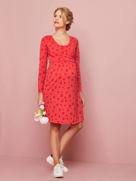 Adaptable Maternity & Nursing Wrapover Dress BLUE MEDIUM ALL OVER PRINTED+RED LIGHT ALL OVER PRINTED - vertbaudet enfant
