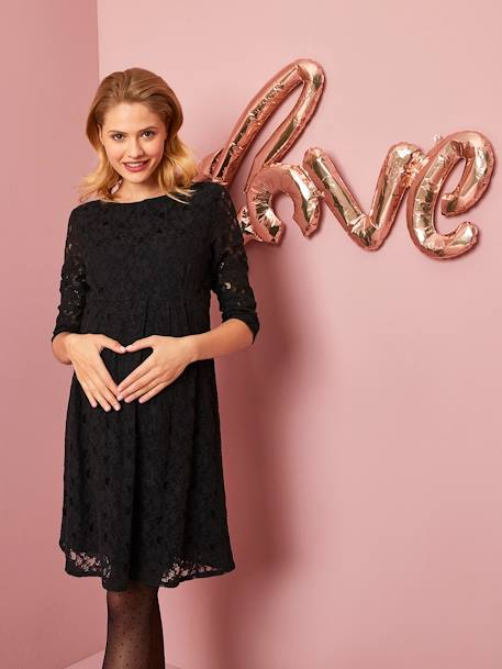 Occasion Maternity Dress in Lace BLACK DARK SOLID+RED DARK SOLID - vertbaudet enfant