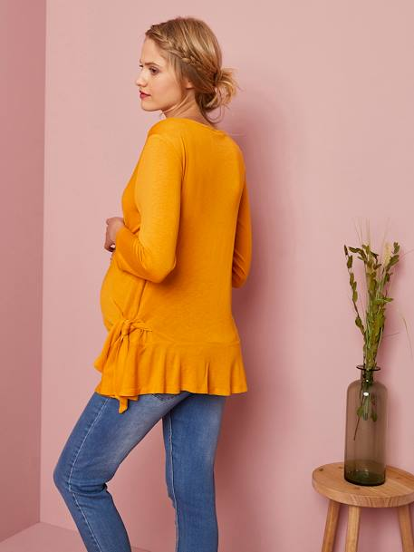 Maternity Top with Applied Trims ORANGE MEDIUM SOLID WITH DESIG - vertbaudet enfant
