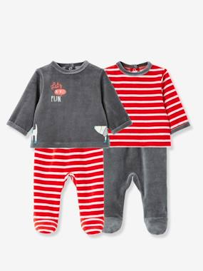 Schoolwear-Baby-Pack of 2 Baby Two-Piece Pyjamas in Velour Fabric