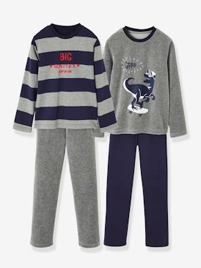 Happy Price Collection-Boys-Pack of 2 Pairs of Matching Dual Fabric Pyjamas for Boys