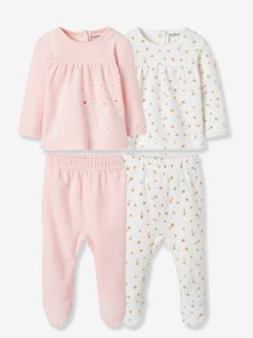 Baby-Pyjamas-Pack of 2 Two-Piece Velour Pyjamas for Babies