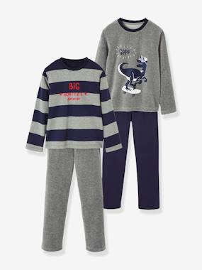 Vertbaudet Sale-Boys-Pack of 2 Pairs of Matching Dual Fabric Pyjamas for Boys