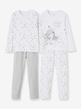 Girls-Nightwear-Pack of 2 Sets of Matching Velour Pyjamas for Girls