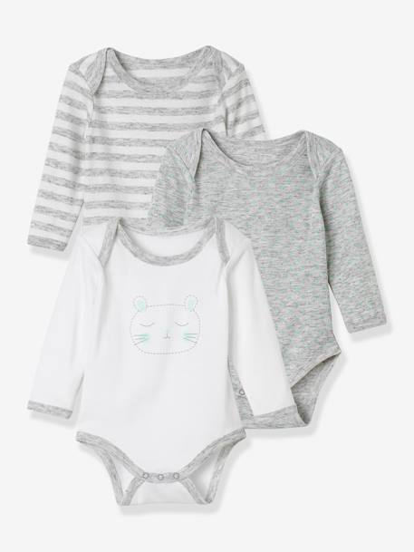 Lot de 3 bodies Bio Collection manches longues bébé couleur frimousse, étoiles er rayures LOT GRIS CLAIR CHINE - SET OF+LOT MARINE GRISE+LOT ROSE - SET OF PINK - 14-23+ROSE PALE - vertbaudet enfant
