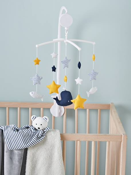 Musical Mobile Set, Fun Sailor BLUE DARK SOLID WITH DESIGN - vertbaudet enfant