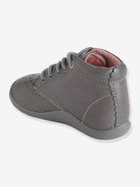 Girls' Leather Ankle Boots, Designed for First Steps Grey+PINK LIGHT ALL OVER PRINTED - vertbaudet enfant