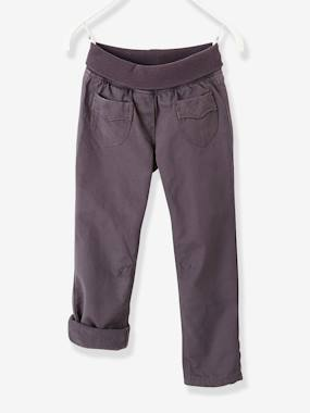 Vertbaudet Sale-Girls' Fleece-Lined Indestructible Trousers