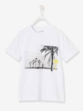 Boys-Tops-T-Shirt for Boys with Palm Trees, Customizable with Removable Appliqués