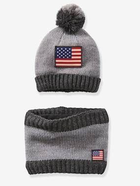 Vertbaudet Sale-Boys-Accessories-Boys' Beanie + Snood Set with Flag
