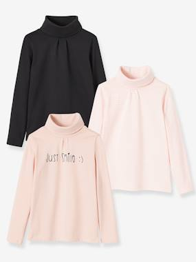 Outlet-Girls-Pack of 3 Roll-Neck Tops for Girls