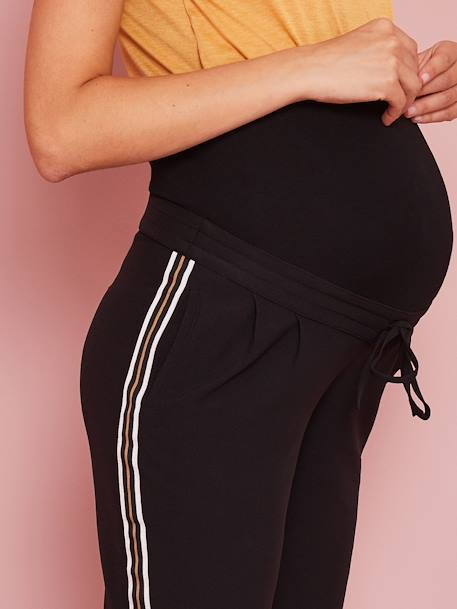 Maternity Trousers with Stripes Up the Sides BLACK DARK SOLID - vertbaudet enfant